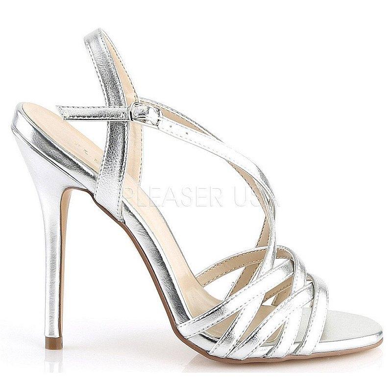 Pleaser AMUSE-13 zilveren sandalen met stilettohak maat 36 - 37