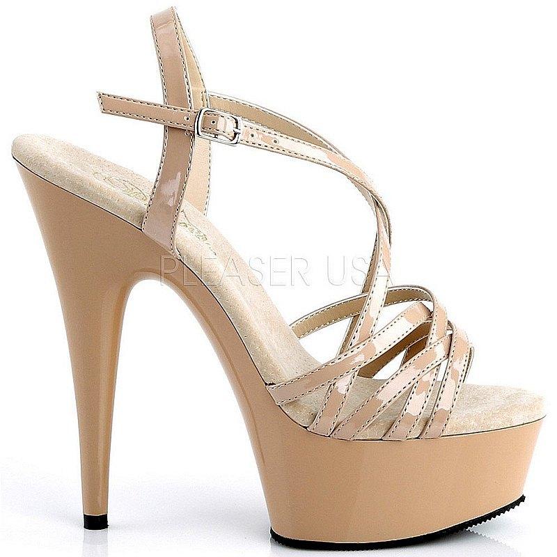 Pleaser DELIGHT-613 beige plateau sandalen met hak maat 37 - 38